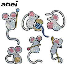 6pcs/lot Cute Mouse Patches Embroidery Sequined Cartoon Appliques Set Clothing Jeans Bags Stickers Sewing Costome Supplier