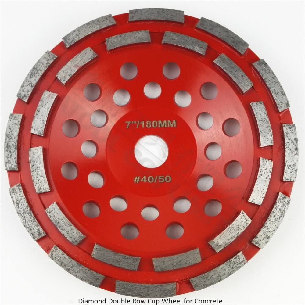 DIATOOL 7 Inch Diamond Double Row Grinding Cup Wheel For Concrete Abrasive Material 180mm Grinding Wheel Bore 22.23mm<br>