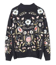 Europe And United States Women's Spring 2017 New High-end Heavy Embroidery Color Flower Short Sweater Q1211-7LJ