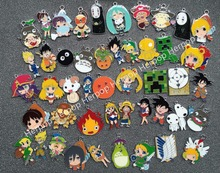 Lot 50pcs Japanese Anime Cartoon mix Metal Charm Key chain necklace Pendants DIY Jewelry Making Mobile Phone Accessories MM-006