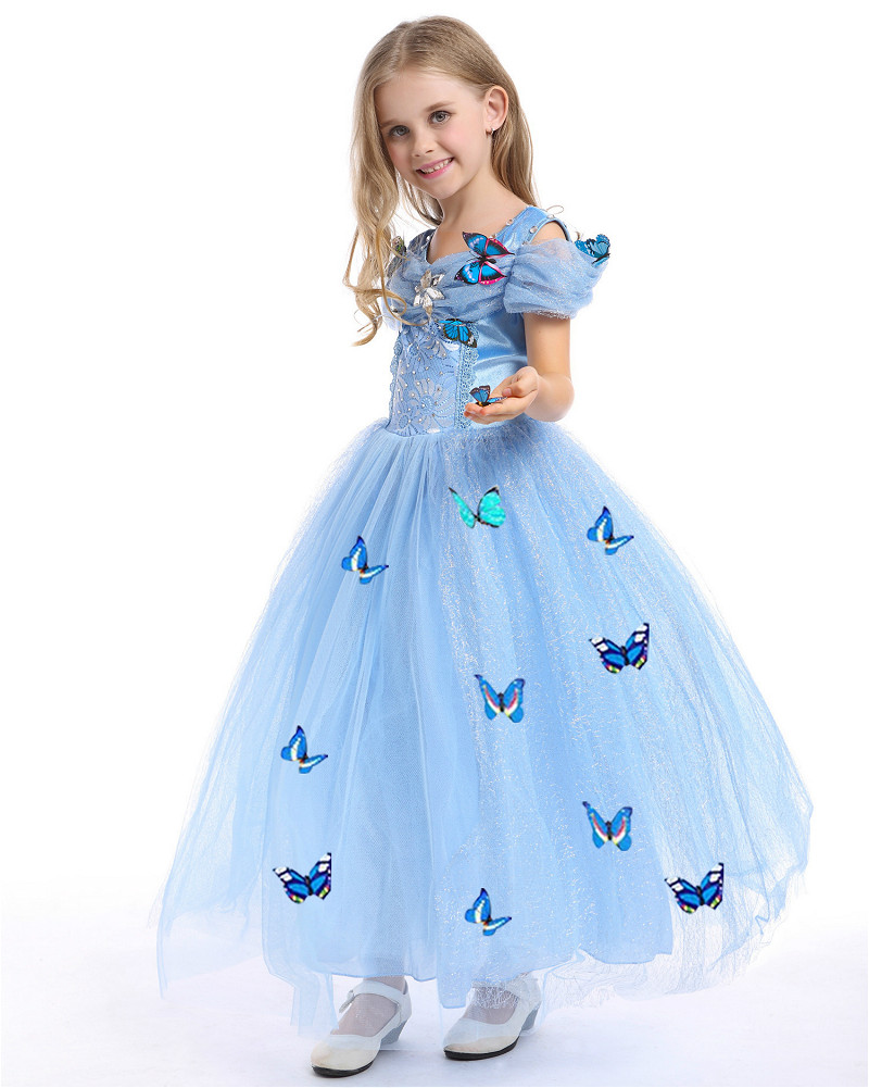 2016 New Elsa Summer Butterfly Lace Dress For Girls Brand Dress Girls Halloween Costumes For Kids Snow Party Dresses Princess 59<br><br>Aliexpress