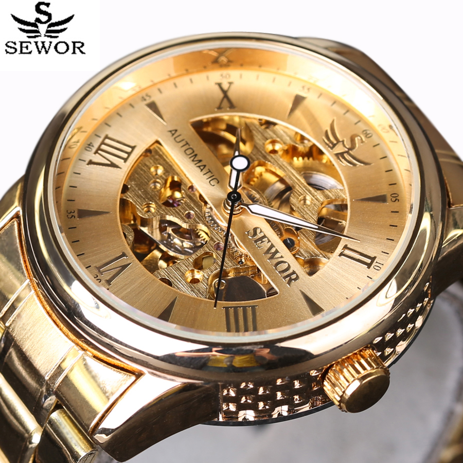 SEWOR Luxury Watches Men Automatic self-wind Watch Full Stainless Steel Gold Watch Fashion Casual Clock Mens Dress montre homme<br><br>Aliexpress