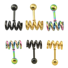 12 pcs/lot stainless steel gold raibbow black different colours spring ear studs designs piercing jewelry for girls(China)