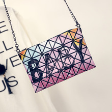 2017 Diy Geometric Shoulder Bags Women Small Chain Bag Laser Flash Diamond PU Leather Pillow Bao Bao Handbag New Arrival DF555
