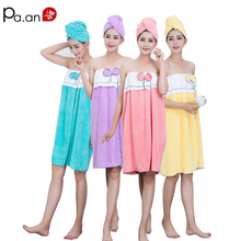 Sexy Women Coral Velvet Bath Towel Hair Cap Set Soft Bowknot Quick Dry Bathrobe Wearable Towels Bathroom Product Home Textile(China)
