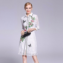 Buy 2018 Hot Spring Lace Embroidery Shirt Dress Women European Full Sleeve Turn-down Collar Elegant Slim Dresses Female Hot Fashion for $55.46 in AliExpress store