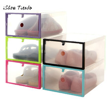 Shoe Storage Box Case Foldable Stackable Clear Plastic Drawer Organizer Holder Rectangle Shoe Storage Transparent shoes box(China)