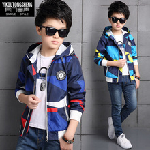 2017 Kids Geometric Fashion Jackets Boy Sport Coat Clothes For Children Outerwear Windbreaker Costume Blazer Clothing Blue 5-16T