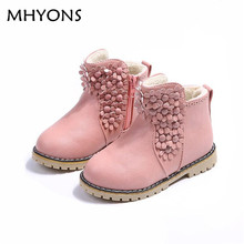 New Fashion Children Autumn Spring Winter Boots Cute Keep Warm Kids Girls Princess Boots Antislip Leather Girl Floral Boots(China)