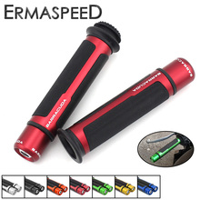 "Universal 7/8"" Motorcycle Handlebar Hand Grips with Bar End CNC Aluminum + Rubber Gel Grip for Honda MSX125 CBR600R CB650F 2017(China)"