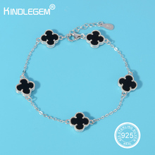 Charms Brand Clover Bracelet For Women Jewelry Four Leaf Clover Bangles Haute Unique Fine Quality 925 Sterling Silver For Women(China)