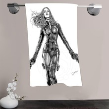 H-P&15 Custom Big Size 140cmx70cm Cotton Bath Towel Black Widow #2 Shower Towel For your family SQ00908-@H015