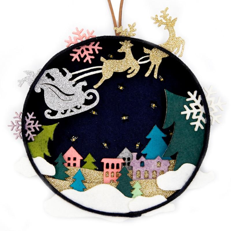 Christmas Felt Kit  Set of 3  HOLIDAY HOMES  ORNAMENTS Dimensions