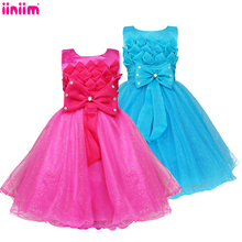 Rosette Girls Princess Tutu Dress Kid Party Pageant Wedding Bridesmaid Ball Gown Fashion design lovely Clothes 1 to 6 Year 2017