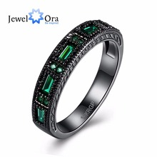Vintage Style Green Stone Women Ring Cubic Zircon Black Gun Plated Rings For Women Party Jewelry (JewelOra RI102388)