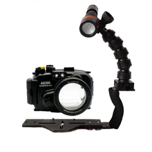 Waterproof Underwater Housing Diving Case For Sony A6000 A6300 A5000 A5100 A7 II Camera + Flex Arm Set+ Archon D11V diving light
