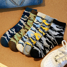 2016 New Fashion Men Socks camouflage Color Style Cotton Socks Autumn Winter Young Men Sox 5 Colors For Choose(China)