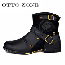 Real Shooting OTTO Fashion Top Quality Handmade Genuine Cow Leather Rivet Boots Martin Boots Leather Shoes Plus Size(China)