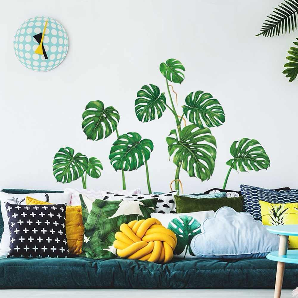 Tropical Green Plant Leaves Wall Sticker Decal Removable Waterproof Easy Peel & Stick Stickers Home Decoration