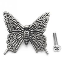 10Pcs/lot Vintage Alloy Silver Color Beautiful Butterfly Handles Cabinet Drawer Cupboard Wardrobe Door Handle(China)