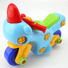 Cartoon motorcycle disassembling combination nut assembled puzzle toys baby gift(China)