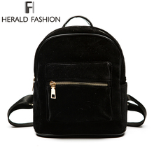 Herald Fashion Women Velvet Backpacks Pleuche Casual Style Girls Mochila Zipper Bags School Bag for Teenage Girls(China)