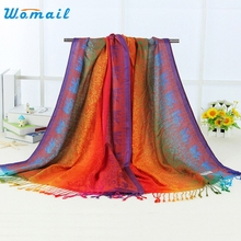 Womail Good Deal  Fashion New Style  Women Double Sided Elephant National Wind Scarf Wrap Shawl   1pc