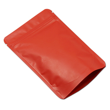 100Pcs/ Lot 10*15cm Doypack Zipper Matte Red Heat Seal Pure Aluminum Foil Pack Pouch Snack Storage Mylar Stand Up Zip Lock Bags