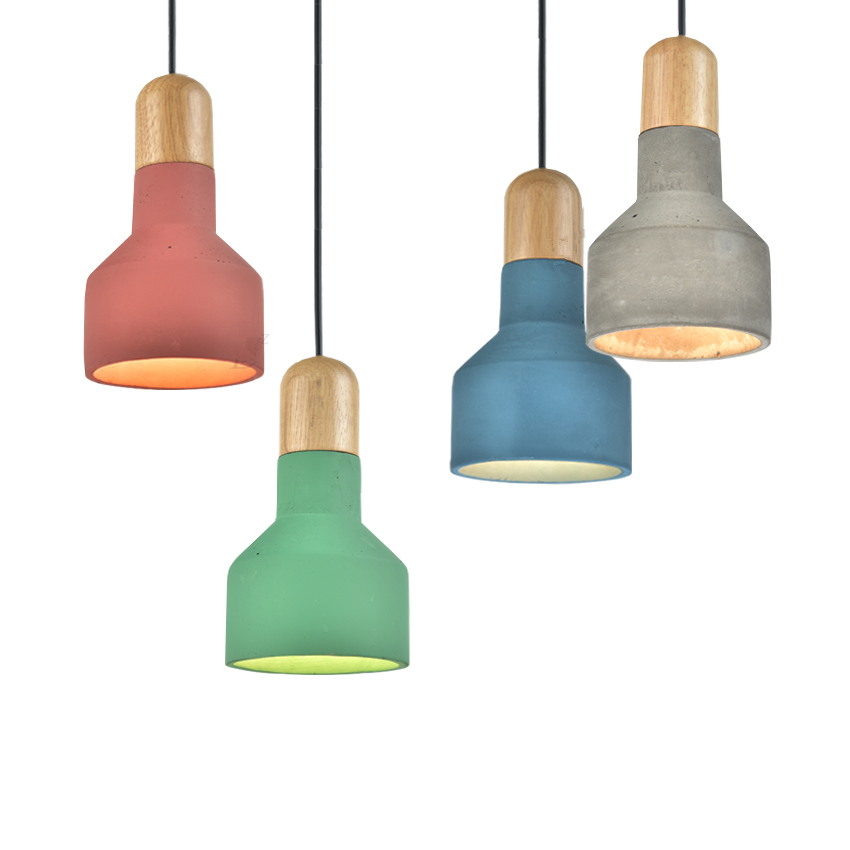 Grey/Green/Red Nordic Modern Pendant Lamp Wood Cement Vintage Lights Fixture for Art Decoration Restaurant Kitchen Lights,E27<br><br>Aliexpress