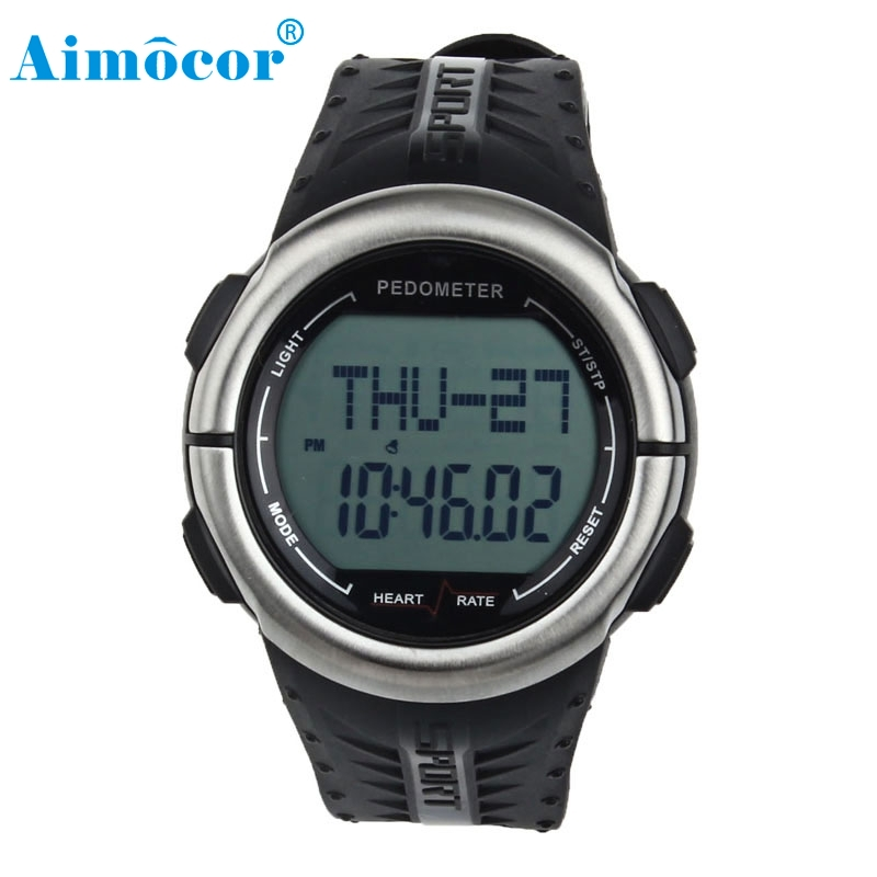2017 Newly Designed Waterproof Digital 3D Pedometer Calories Counter Pulsometer Heart Rate Monitor LED Sport Watch #17