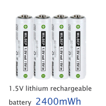 4PCS 1.5V AA lithium polymer rechargeable battery 2400mwh 2A li-ion li ion cell replace for Ni-Mh type for camera toys use