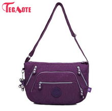 TEGAOTE Nylon Solid Shoulder Bags Female Zipper Luxury Handbags Women Bags Designer Women Beach Bag Bolsas Feminina Hobo Bag(China)