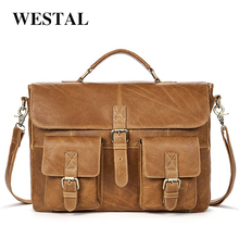 WESTAL Genuine Leather Bag Men Bags Business Men's Briefcases Handbag Totes Shoulder Crossbody Bags Leather Laptop Bag 14inch