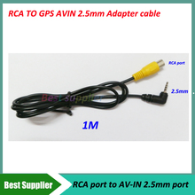 High quality RCA to 2.5mm AV-IN Cable Earphone Jack RCA Car Rear View Camera for GPS Adapter to Headphone(China)