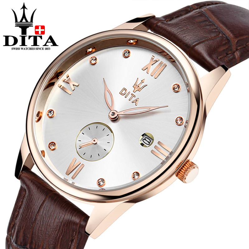 DITA Mens Quartz Watch Geniune Leather Belt Business Casual Classic Wristwatch date brown black strap reloges militares hombre  <br>