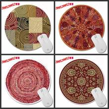 Custom Red Puzzle Persian Carpet Series Art Prints a Circular Mousepad for Office Computer Optics/trackball Mouse
