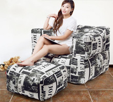 Cover only  No Filler- WITH STOOL Living room bean bag armchair, adults beanbag sofa lounger