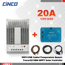 Tracer2215BN 20A 12V/24 EPEVER solar controller & eBox-WIFI and USB communication cable & temperature sensor RTS300R47K3.81AV1.1(China)