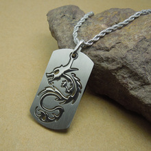 Men Fashion Jewelry Titanium Steel Dog Tag Necklace For Teen Boy Unique Cool Dragon Pendant Mens Necklaces Punk Rock Jewelry DLQ