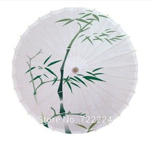 Dia 50cm Chinease handmade Classical craft umbrella fresh green bamboo picture vintage long-handle parasol oiled paper umbrella(China)