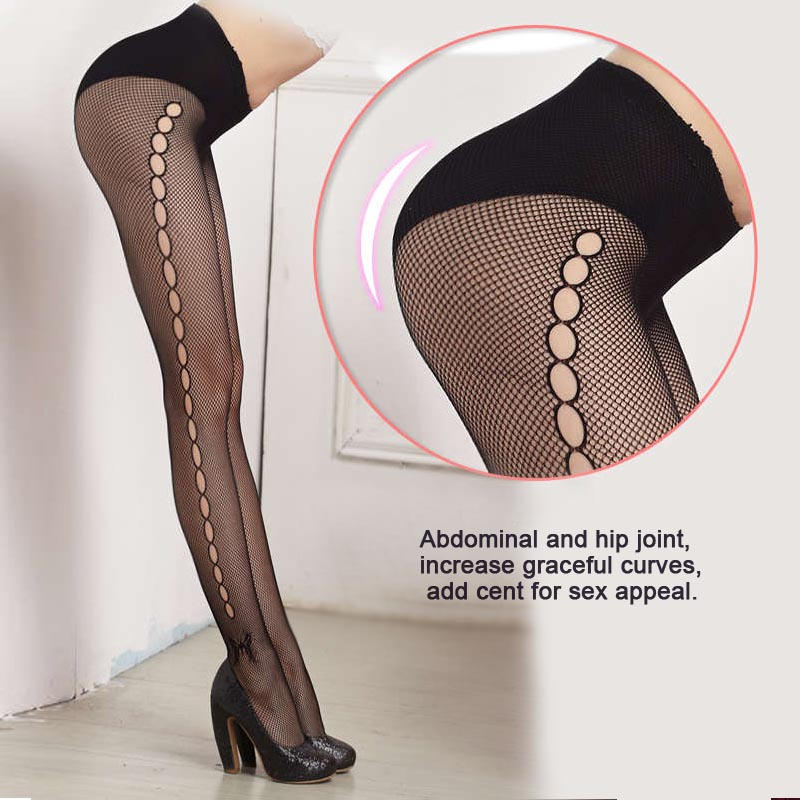Sexy Women's or Girls, Core Wire Jacquard Club Panties, Knitting Net Thin Pattern Tattoo Fishnet Stockings 4