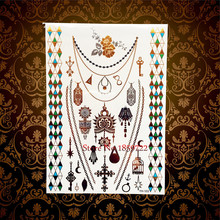 1PC Hot Brand New Henna Flash Gold Metallic Temporary Tattoo Stickers Sexy Women HYH103 Choker Designs Diamond Bracelet Tattoos