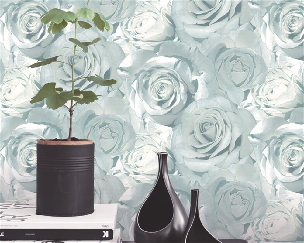 Beibehang Simple Pastoral Rose High Flower 3D Wallpaper Living Room Background wall 3d Wallpaper roll  wallpaper for walls 3 d<br>