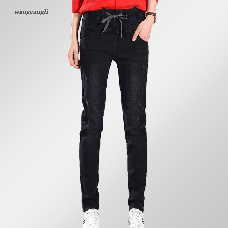 women jeans black plus velvet autumn mid waist stretch long pants elastic waist jeans female elastic cowboy large size XL 5XLÎäåæäà è àêñåññóàðû<br><br>