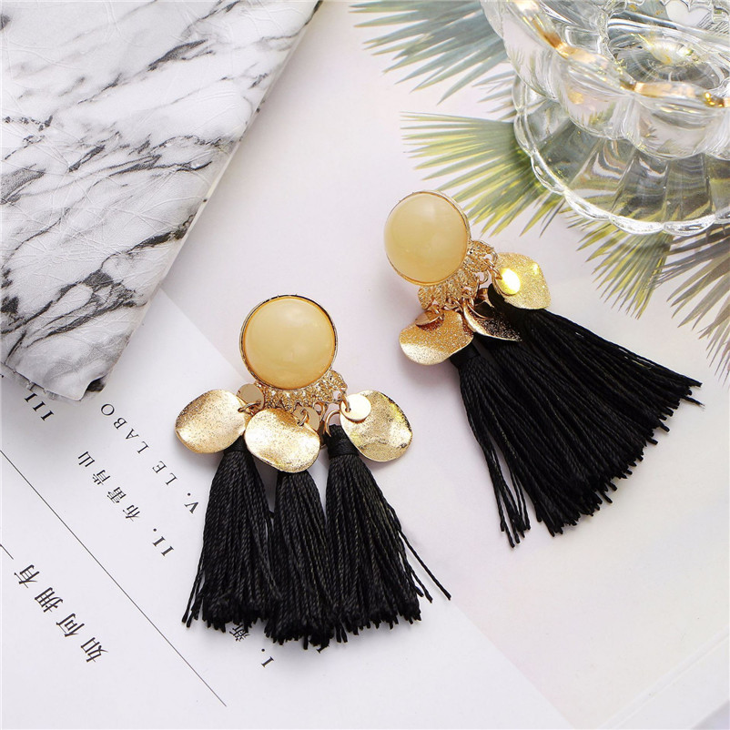 2018 Trendry Earrings for Women Bohemian Fashion Weave Tassel Earrings Long Drop Earrings Jewelry for gift Brincos J05#N (7)