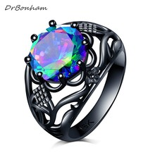 DrBonham men women big 10mm AAA clear colorful CZ Cubic Zircon flower Ring black gold filled party alliance birthday Gift DR1723(China)