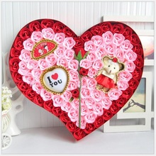 New fashion Romantic Plush Animal toys doll teddy bear with Heart-shaped Lamp Soap Flower Gift Box Valentine Mother's Day Gift(China)