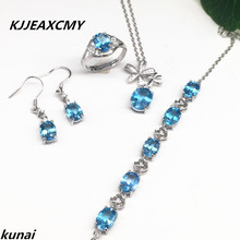 KJJEAXCMY Fine jewelry, 925 silver inlay natural blue topaz set simple wholesale female models