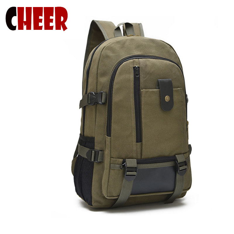 Men\'s canvas backpack leisure travel bag  backpack...
