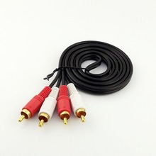 10pcs 5FT 1.5m Twin Phono 2 RCA Cable Audio Lead Gold Two Male TV Projector 2 RCA Cord